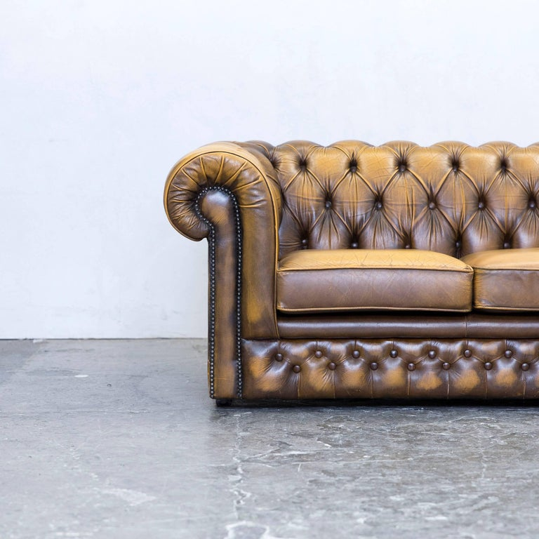 Thomas Lloyd Chesterfield Leather Sofa Ocre Brown Three Seat Couch Retro Vintage at 1stdibs