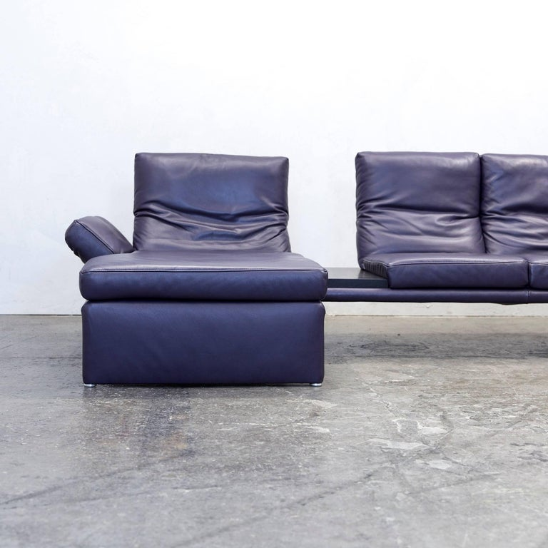 koinor raoul designer corner sofa leather aubergine lilac function couch modern at 1stdibs. Black Bedroom Furniture Sets. Home Design Ideas