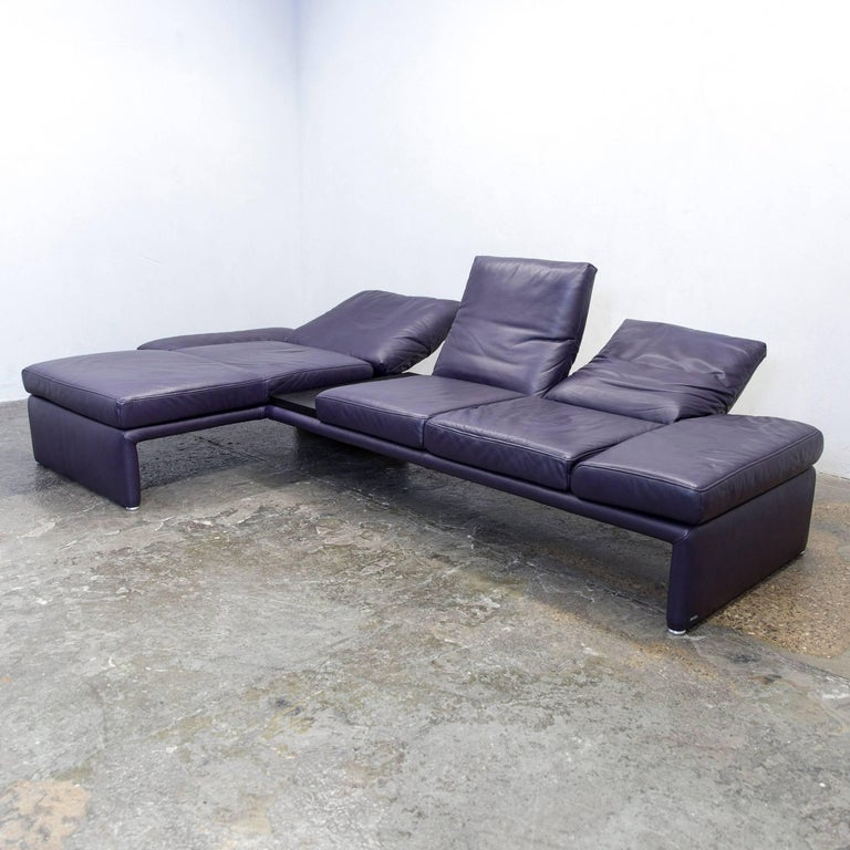 koinor raoul designer corner sofa leather aubergine lilac function couch modern at 1stdibs. Black Bedroom Furniture Sets. Home Design Ideas