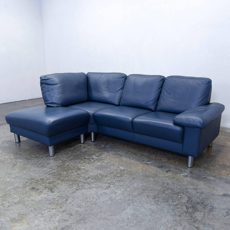 Designer corner sofa leather blue function couch modern at for Funktions ecksofa