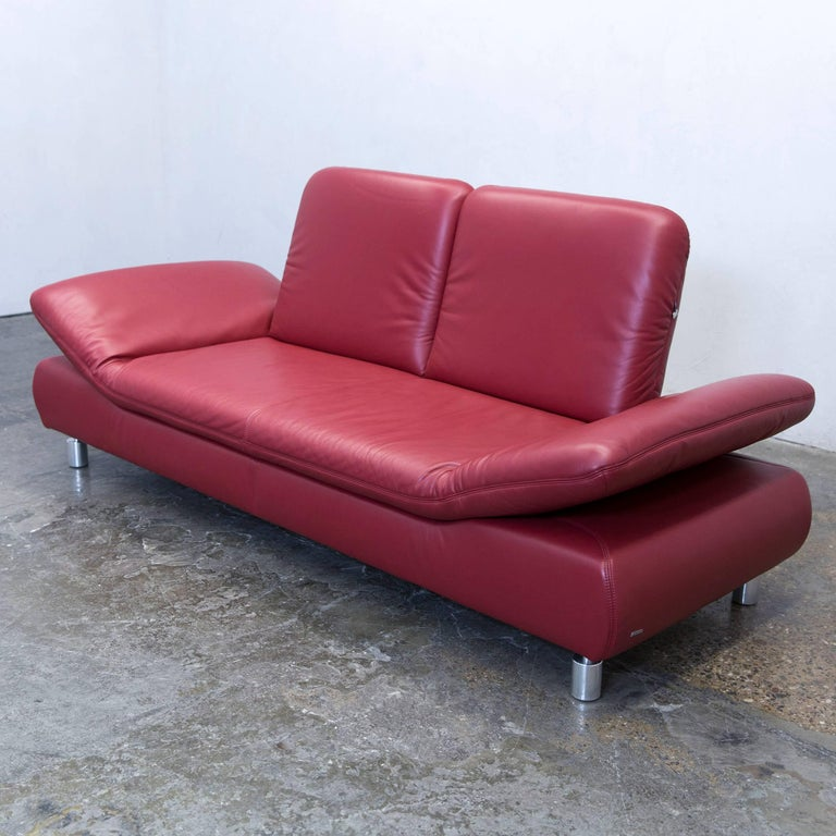 koinor rossini designer sofa leather red three seat function modern at 1stdibs. Black Bedroom Furniture Sets. Home Design Ideas