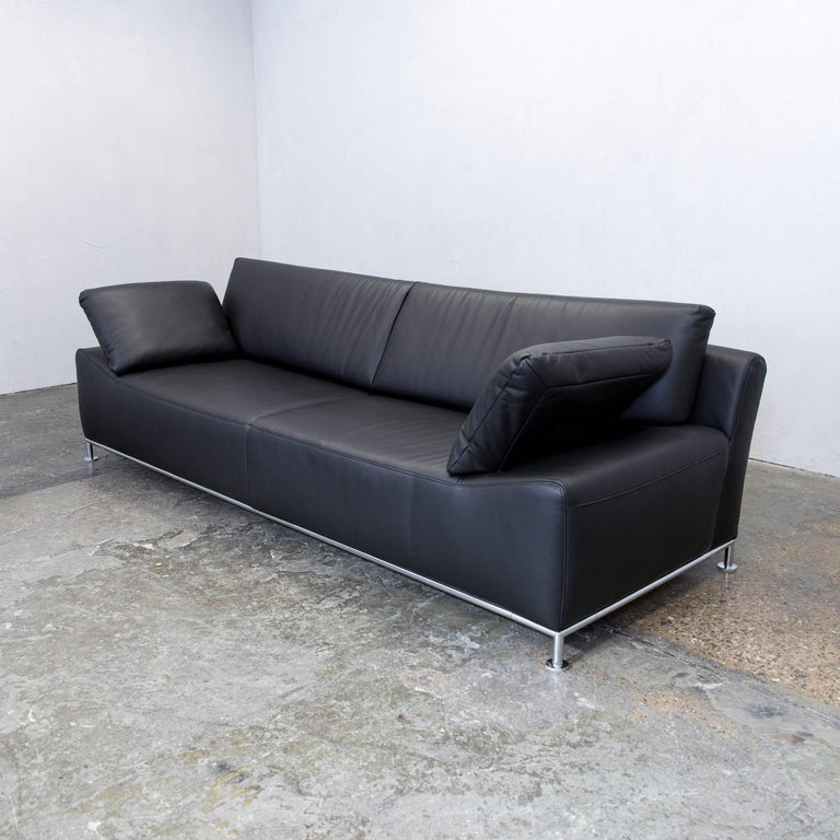 ewald schillig bentley designer sofa leather black three seat function modern at 1stdibs. Black Bedroom Furniture Sets. Home Design Ideas