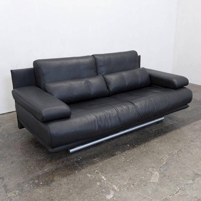 Rolf Benz 6500 Designer Sofa Black Three Seater Modern