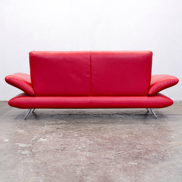 koinor rossini designer sofa red full leather three seat at 1stdibs. Black Bedroom Furniture Sets. Home Design Ideas