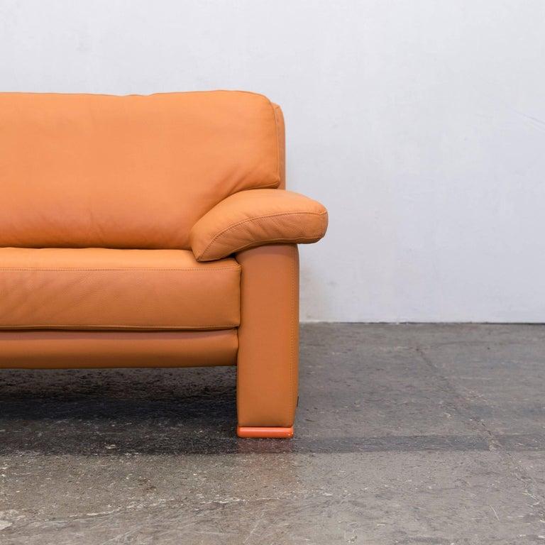 willi schillig designer sofa orange leather three seat german design at 1stdibs. Black Bedroom Furniture Sets. Home Design Ideas