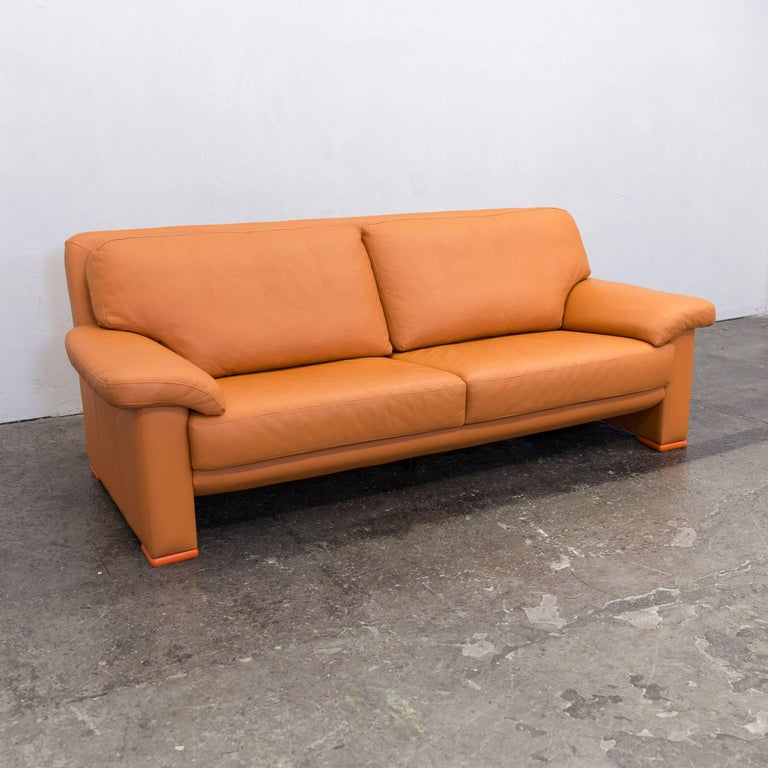 willi schillig designer sofa orange leather three seat. Black Bedroom Furniture Sets. Home Design Ideas