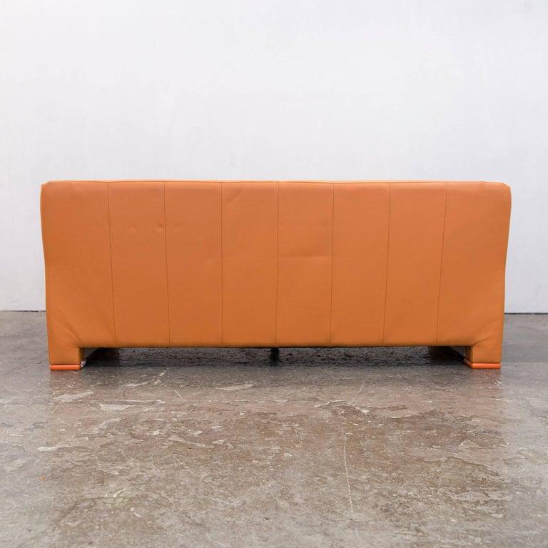 Willi Schillig Designer Sofa Orange Leather Three Seat German Design At 1stdibs