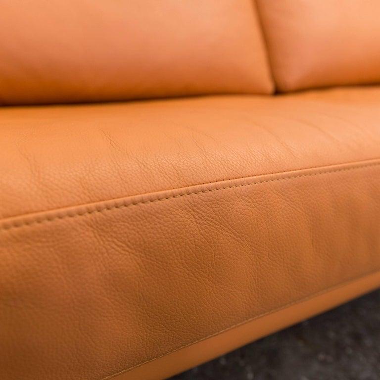 willi schillig designer sofa orange leather three seater german design for sale at 1stdibs. Black Bedroom Furniture Sets. Home Design Ideas