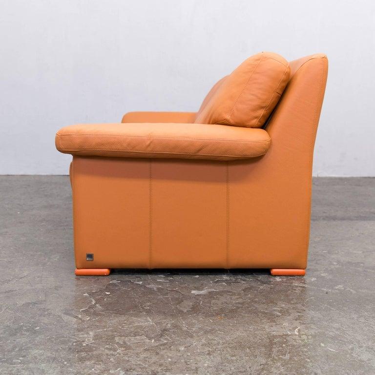 willi schillig designer sofa orange leather three seater. Black Bedroom Furniture Sets. Home Design Ideas