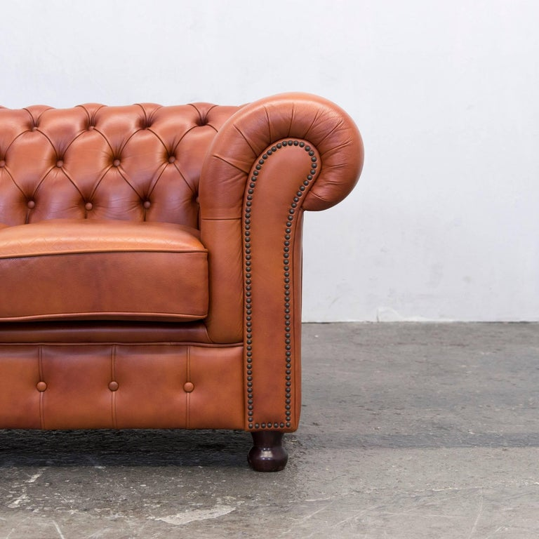 Original Chesterfield Two Seat Couch Authentic Leather Terracotta At 1stdibs
