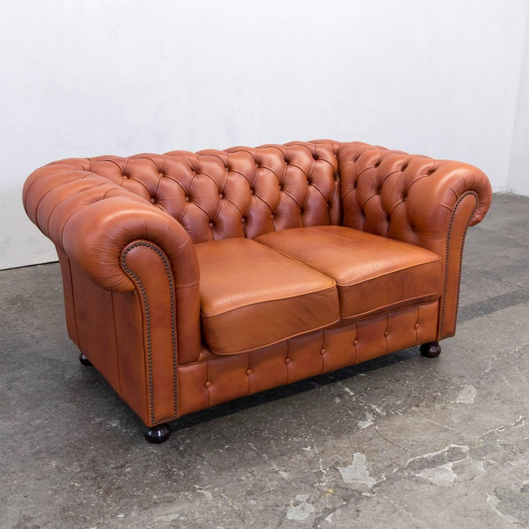original chesterfield two seat couch authentic leather terracotta at 1stdibs. Black Bedroom Furniture Sets. Home Design Ideas