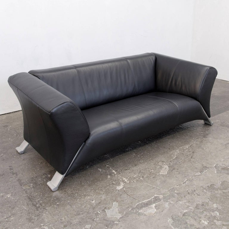 rolf benz 322 designer sofa black two seat leather modern. Black Bedroom Furniture Sets. Home Design Ideas