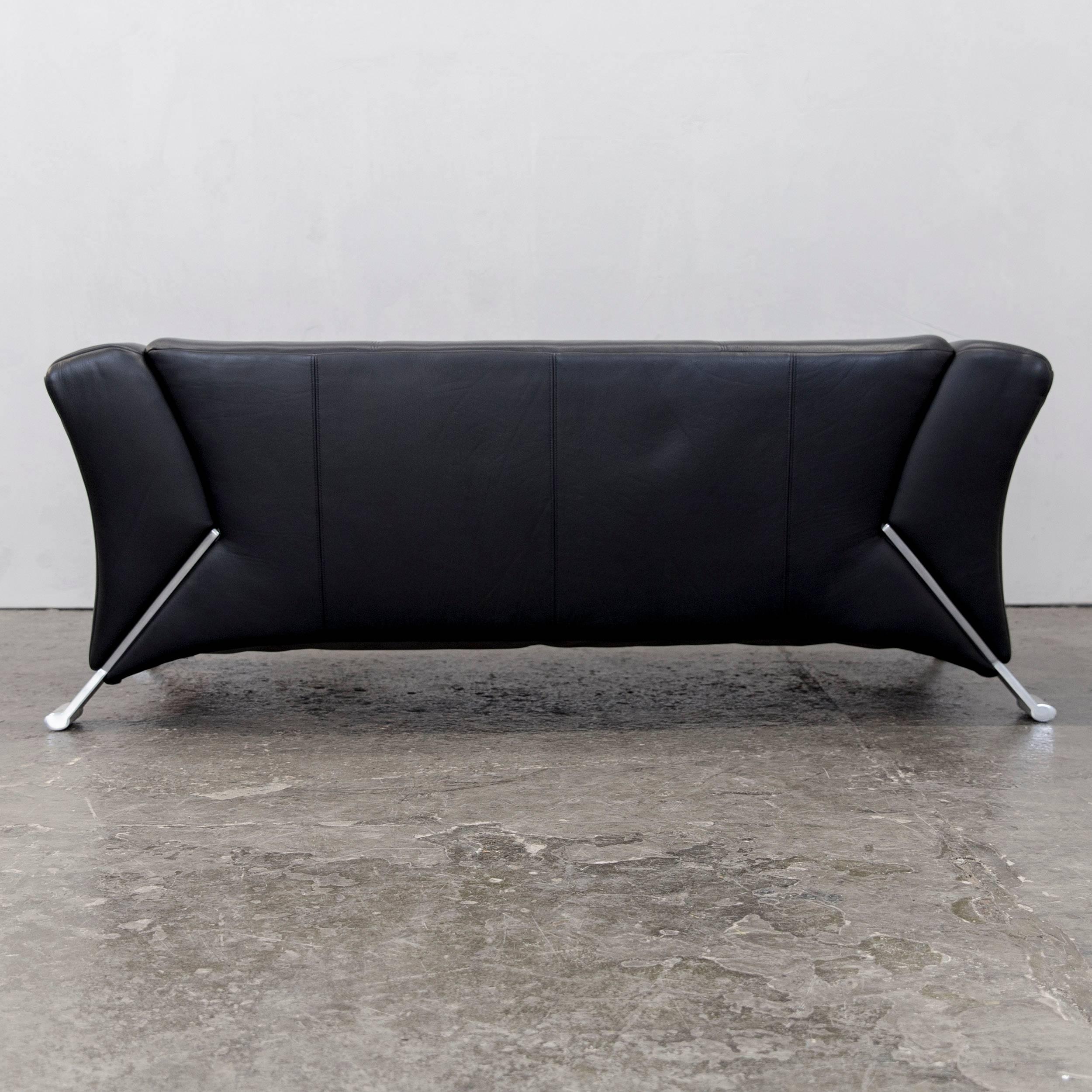 Rolf Benz 322 Designer Sofa Black Two-Seat Leather Modern at 1stdibs