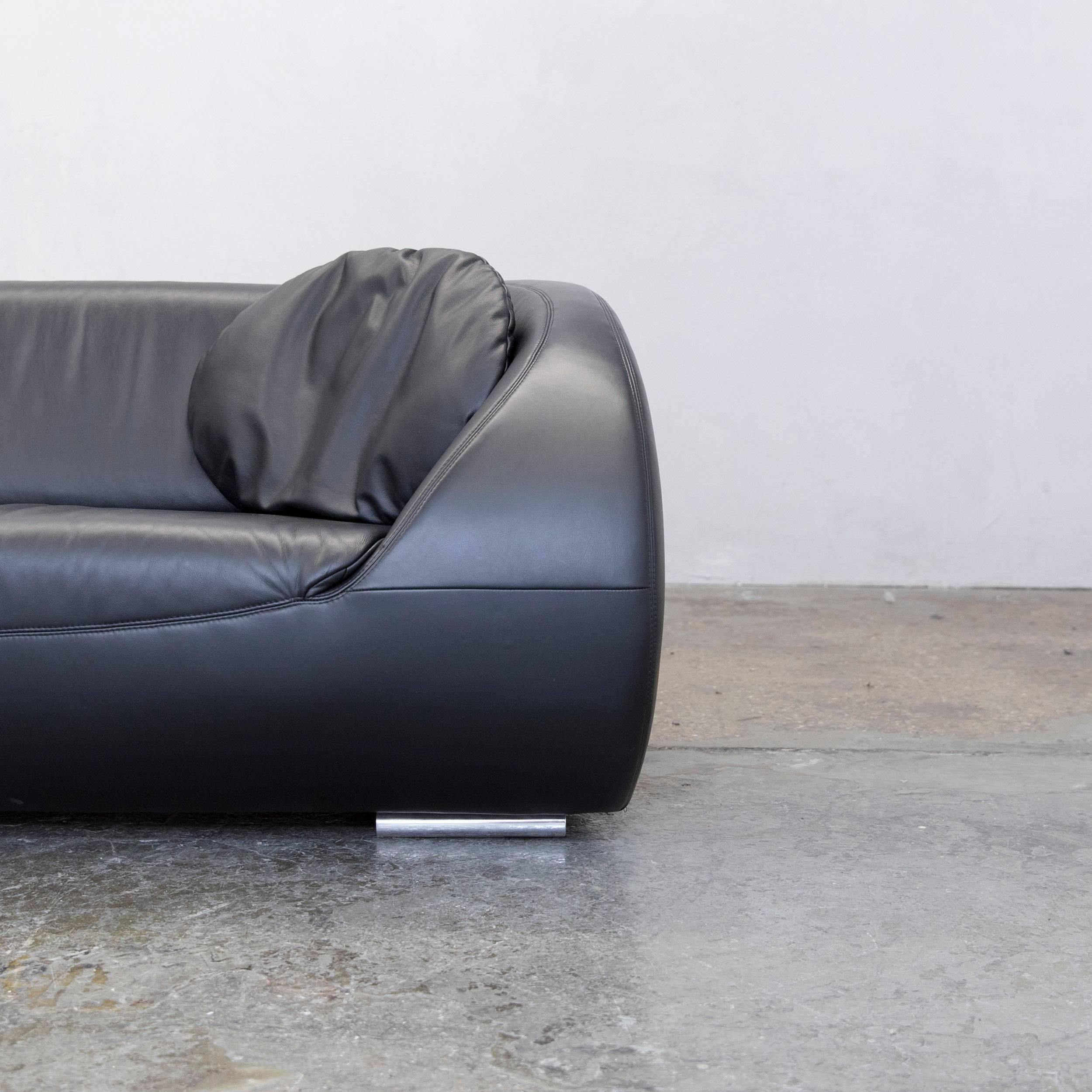 Mid Century Modern Koinor Pearl Designer Sofa Black Leather Three Seat For  Sale