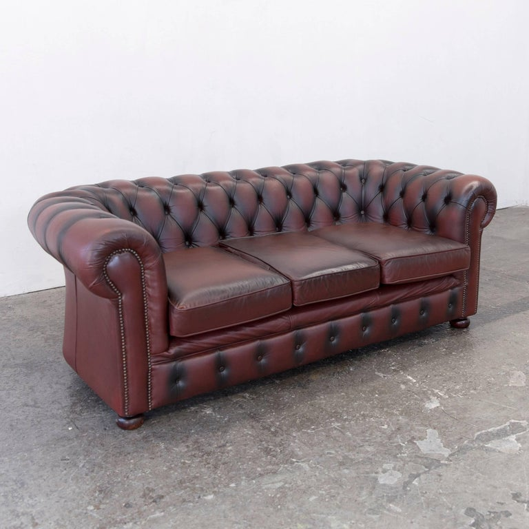original chesterfield three seat couch red brown authentic leather for sale at 1stdibs. Black Bedroom Furniture Sets. Home Design Ideas