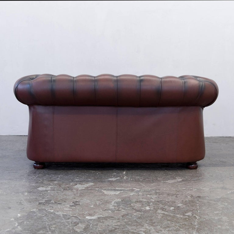 original chesterfield two seat couch red brown authentic leather for sale at 1stdibs. Black Bedroom Furniture Sets. Home Design Ideas