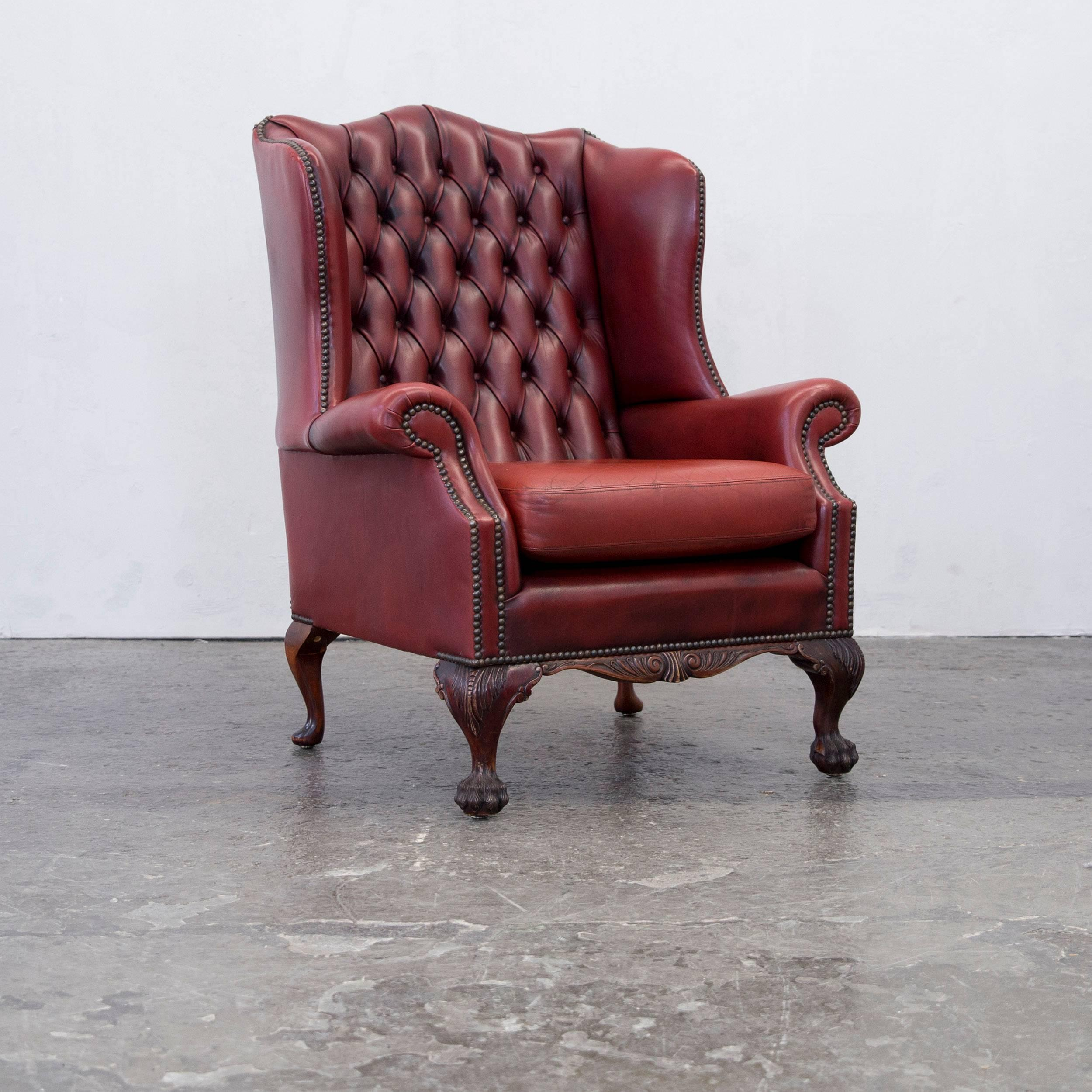 Chesterfield Wingback Chair Set Of Four In Stunning Oxblood Red Full  Leather 2