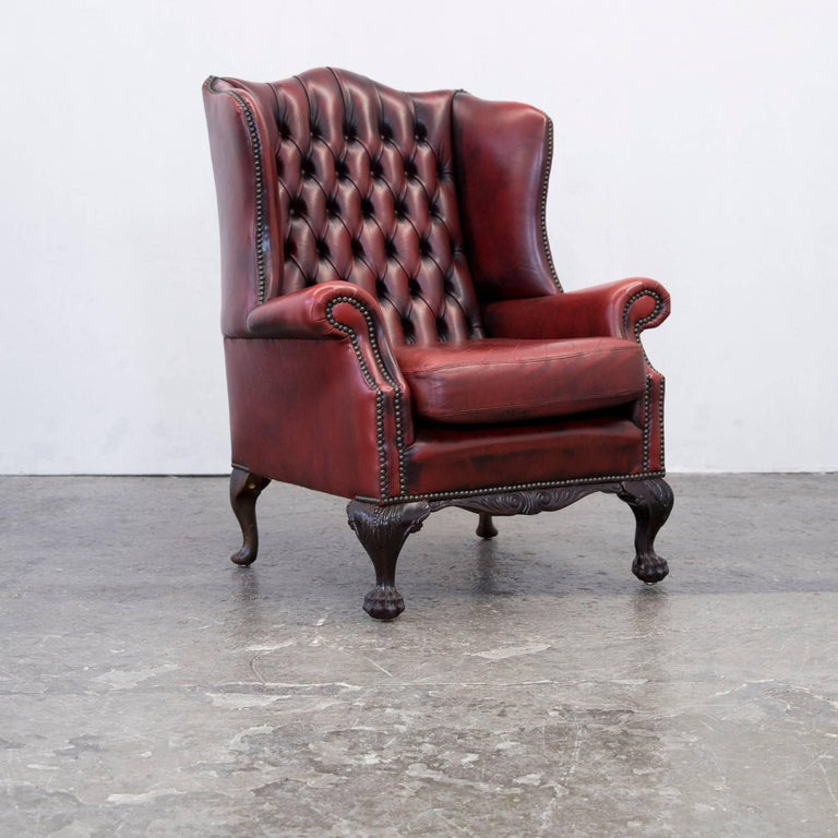 ox blood leather chesterfield wingback vintage wingback chesterfield. Black Bedroom Furniture Sets. Home Design Ideas