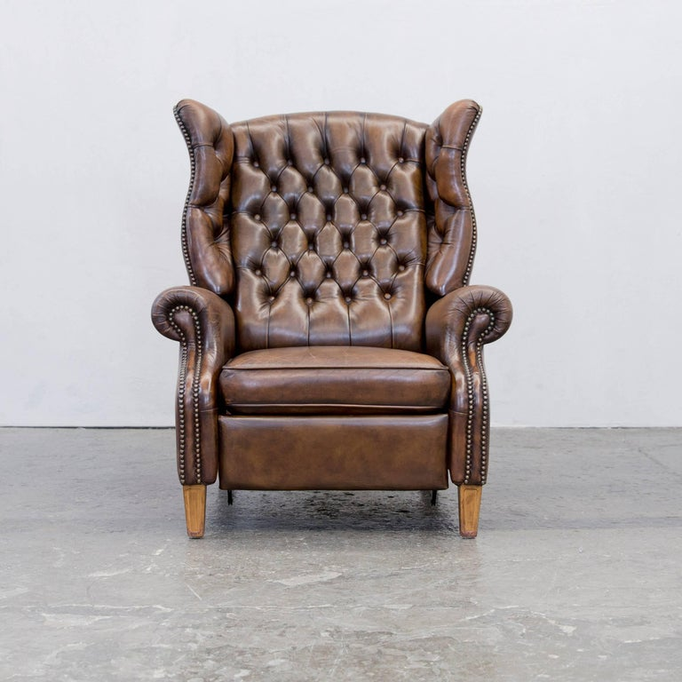 chesterfield recliner armchair brown leather at 1stdibs. Black Bedroom Furniture Sets. Home Design Ideas