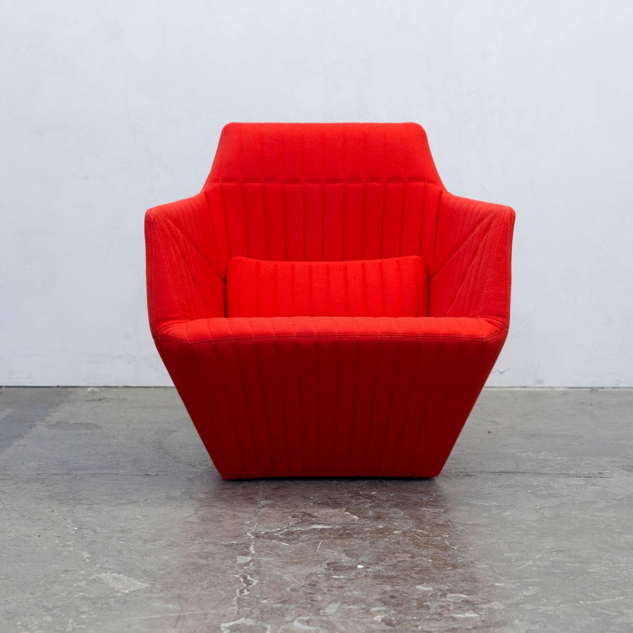 Ligne Roset Facett R.u0026E. Bouroullec Designer Chair Red Fabric Modern 2