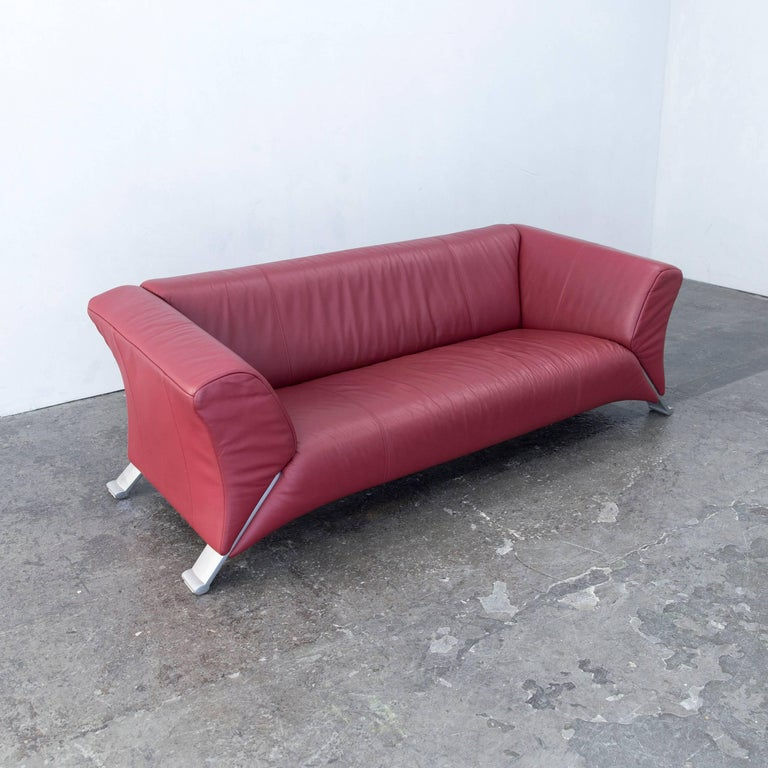 Rolf Benz 322 Designer Sofa Leather Red Three Seat Modern At 1stdibs
