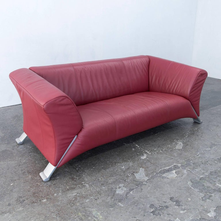 Rolf Benz 322 Designer Sofa Leather Red Two Seat Modern