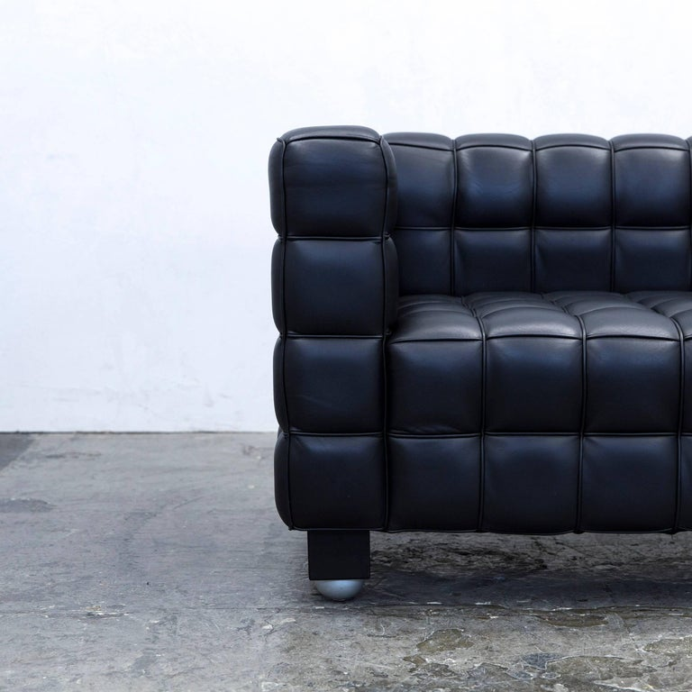 wittmann kubus designer sofa leather black two seat couch modern for sale at 1stdibs. Black Bedroom Furniture Sets. Home Design Ideas