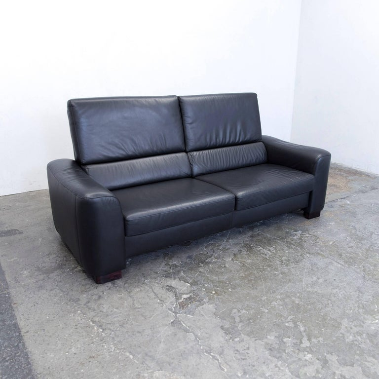 Ewald Schillig Designer Sofa Leather Black Three Seat Couch Modern For Sale At 1stdibs