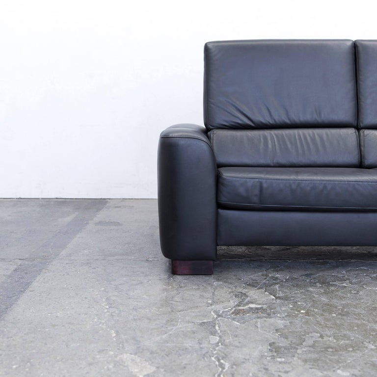 ewald schillig designer sofa leather black two seat couch modern for sale at 1stdibs. Black Bedroom Furniture Sets. Home Design Ideas