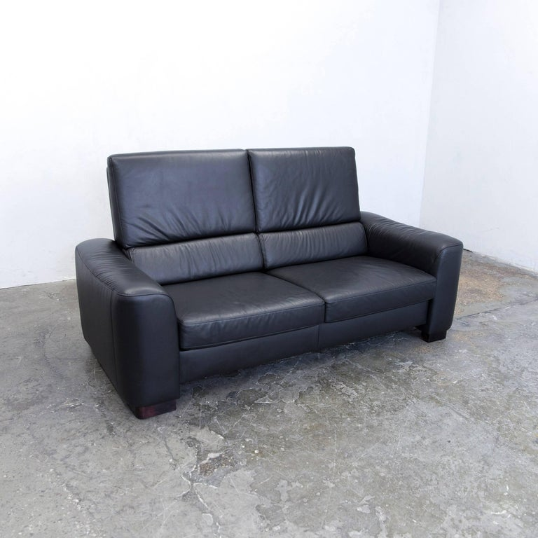 Ewald Schillig Designer Sofa Leather Black Two Seat Couch Modern For Sale At 1stdibs