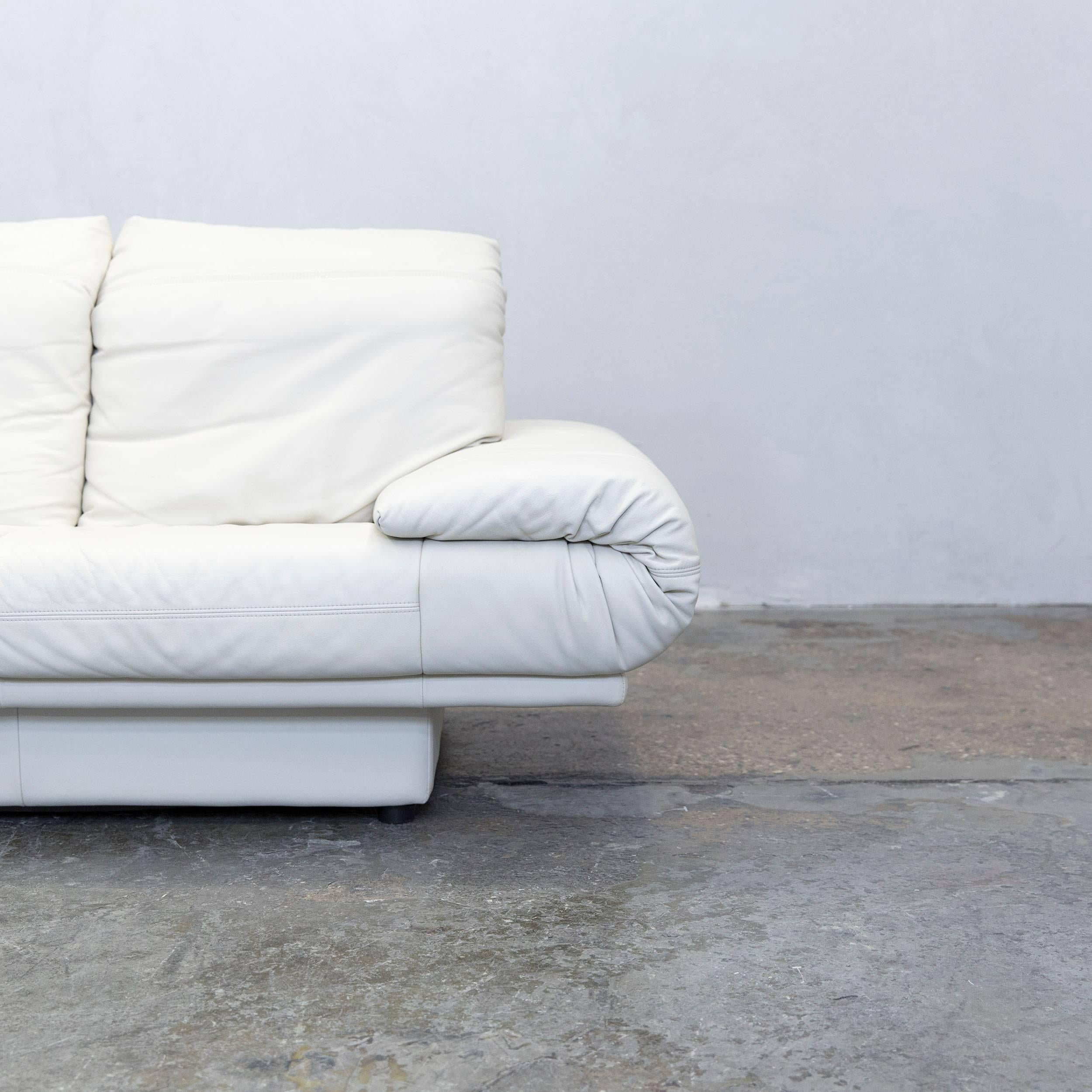 Rolf Benz Designer Sofa Leather Crme White Twoseat Couch Modern With Couch Wei  Beige