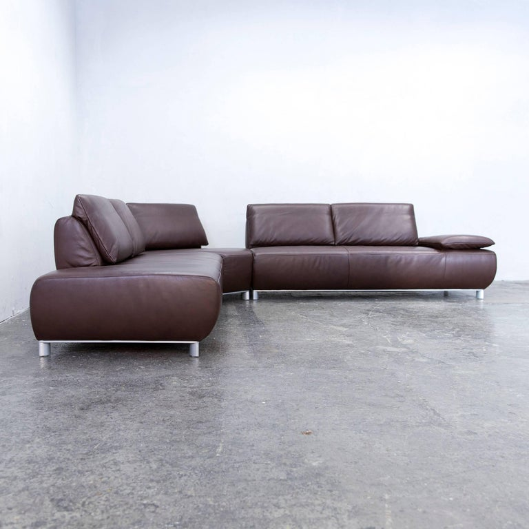 Koinor volare corner sofa leather mocca brown function for Funktions ecksofa