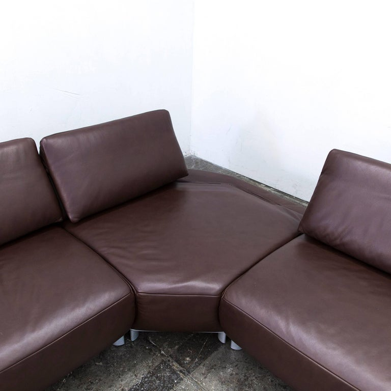 koinor volare corner sofa leather mocca brown function couch modern at 1stdibs. Black Bedroom Furniture Sets. Home Design Ideas
