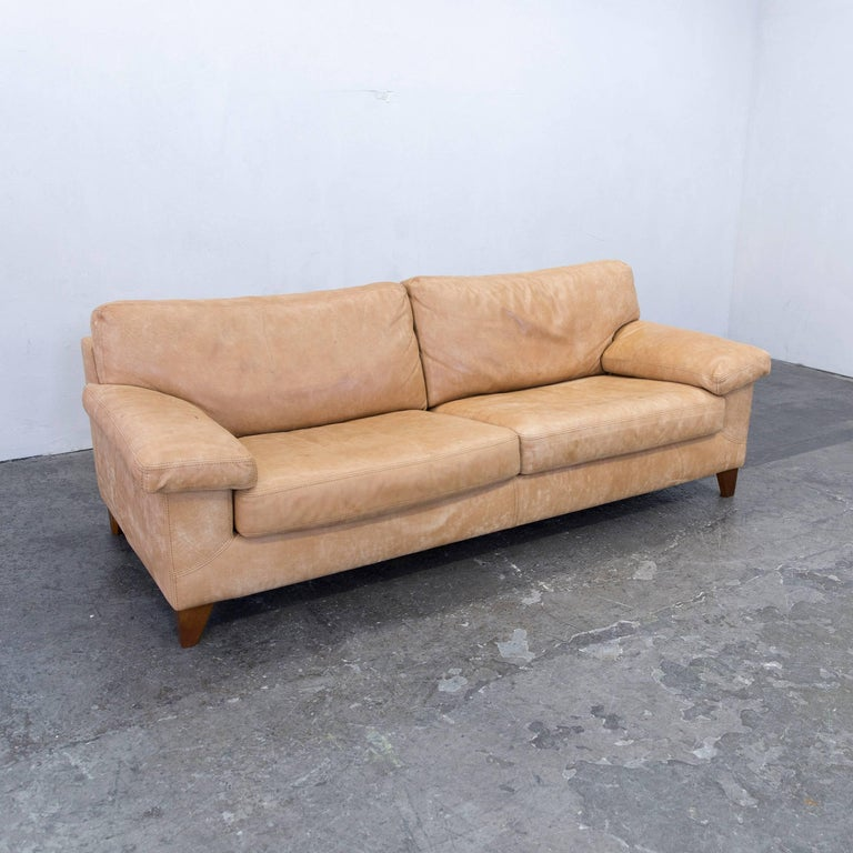 machalke diego designer sofa leather cognac zigarro aged saddle three seat 3