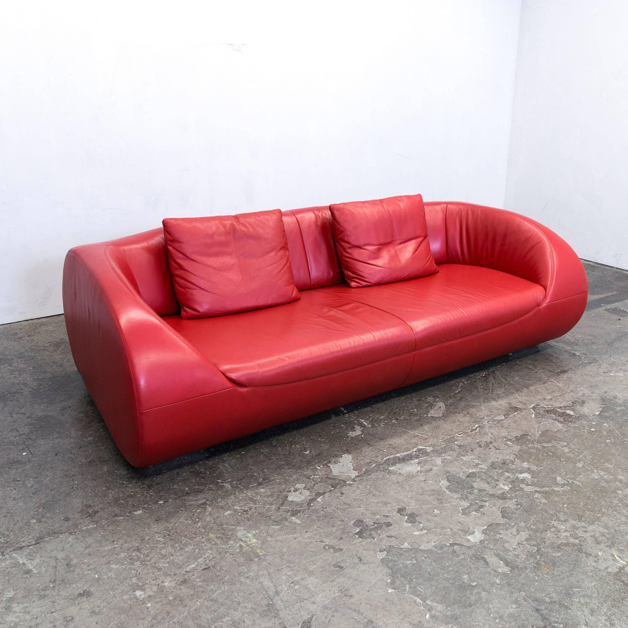 Koinor Designer Sofa Leather Red Three Seat Couch Modern At 1stdibs