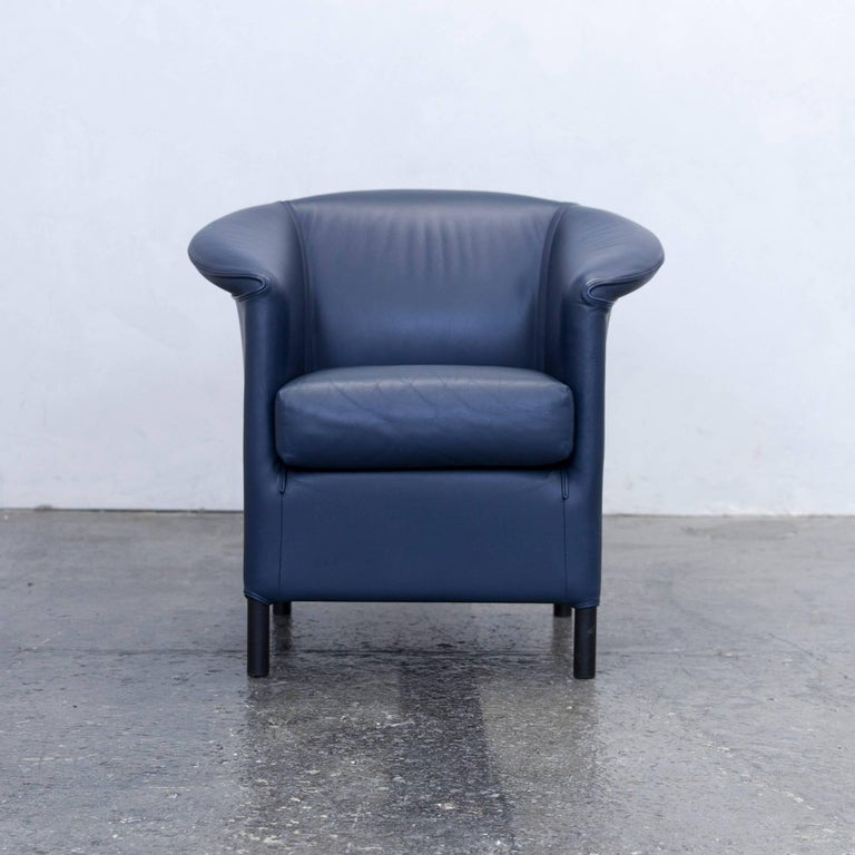 wittmann aura designer armchair leather blue modern for sale at 1stdibs. Black Bedroom Furniture Sets. Home Design Ideas