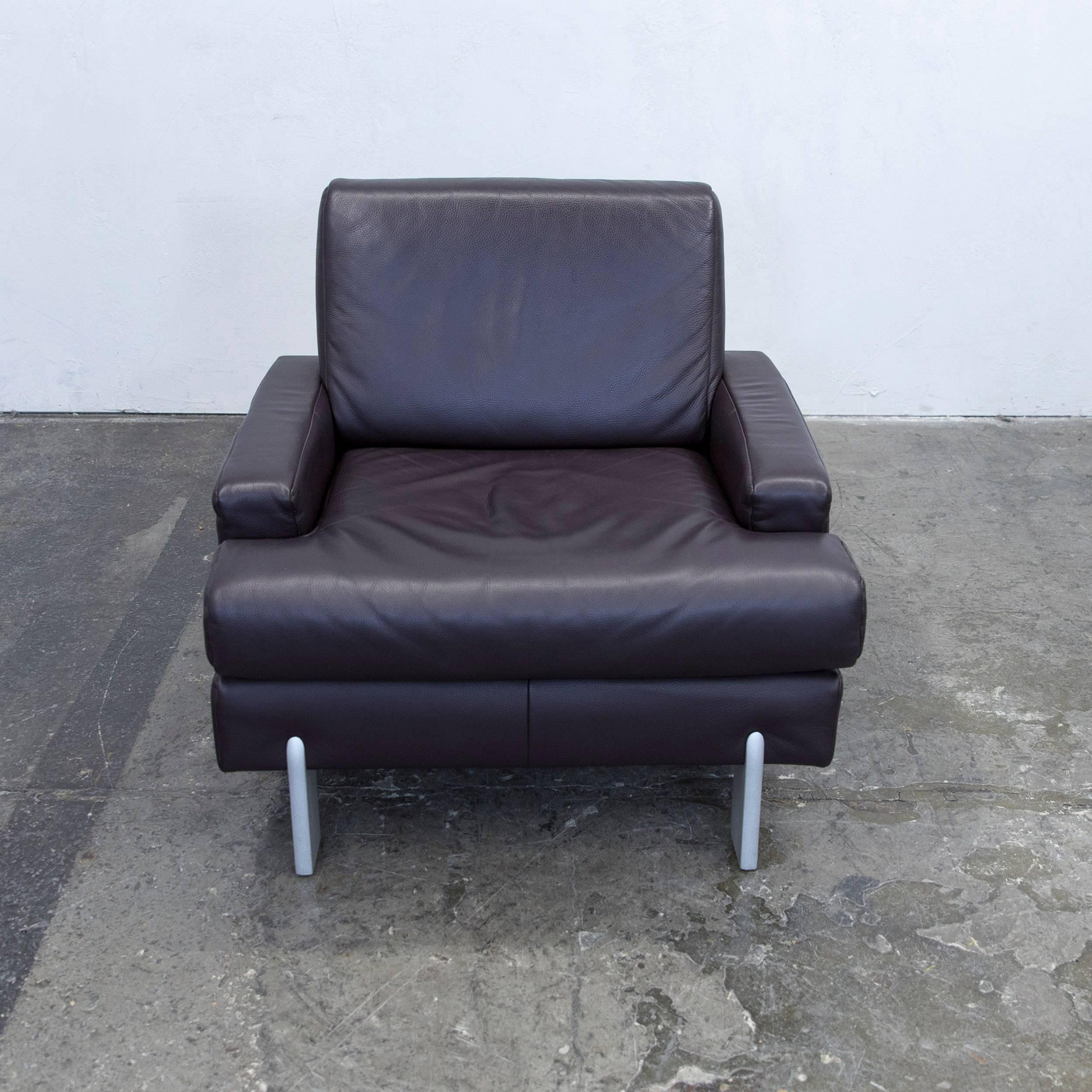 German Rolf Benz Designer Armchair Leather Aubergine Violet One Seat Couch  Modern For Sale