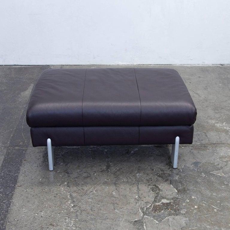 Rolf benz footstool leather aubergine violett one seat - Rolf benz leder ...