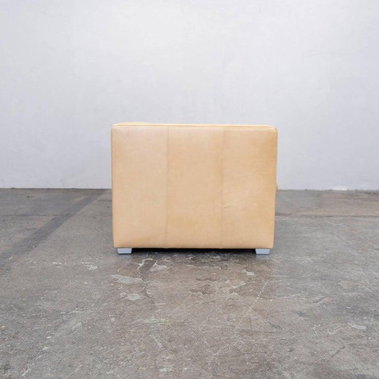 machalke designer sofa leather cr me beige three seat. Black Bedroom Furniture Sets. Home Design Ideas