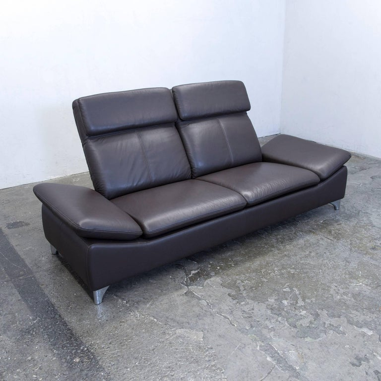 willi schillig designer sofa leather brown two seat function couch modern at 1stdibs. Black Bedroom Furniture Sets. Home Design Ideas
