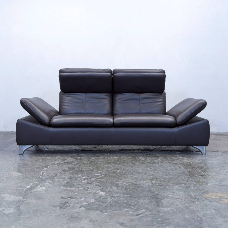 Willi Schillig Designer Sofa Leather Brown Two Seat Function Couch Modern For Sale At 1stdibs