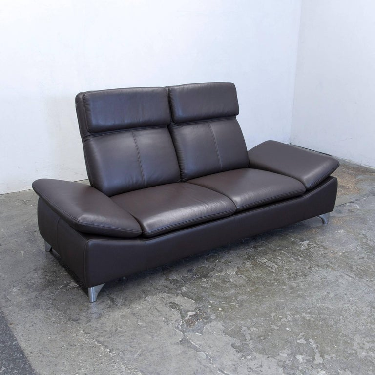 willi schillig designer sofa leather brown two seat. Black Bedroom Furniture Sets. Home Design Ideas