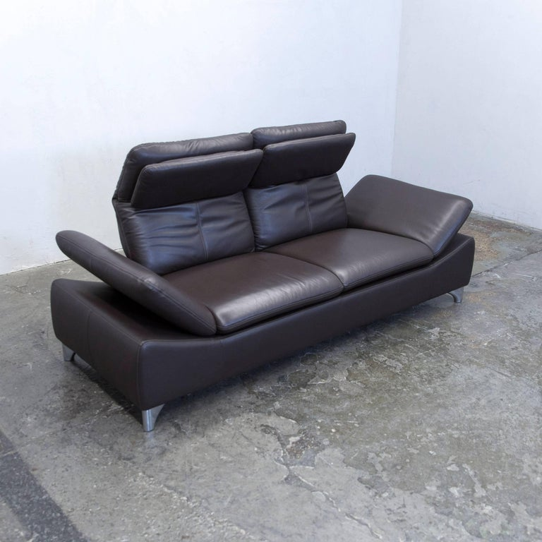 willi schillig designer sofa leather brown two seat function couch modern for sale at 1stdibs. Black Bedroom Furniture Sets. Home Design Ideas