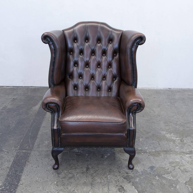 Chesterfield Leather Wingback Chair Brown One Seat Couch ...