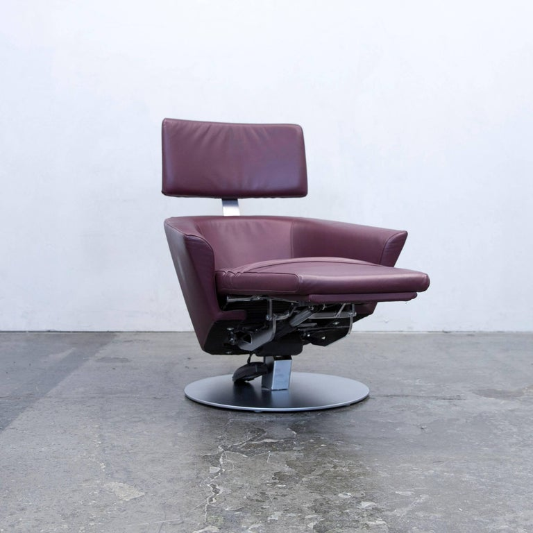 wk wohnen designer armchair leather aubergine electric. Black Bedroom Furniture Sets. Home Design Ideas