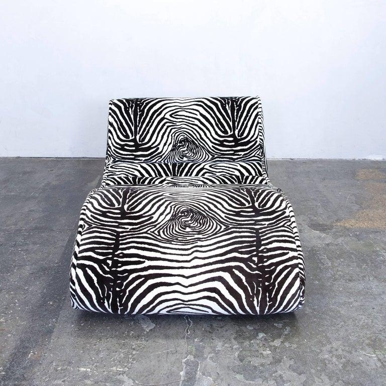 Bretz Designer Recamiere Microfibre White Black Zebra Pattern Sofa
