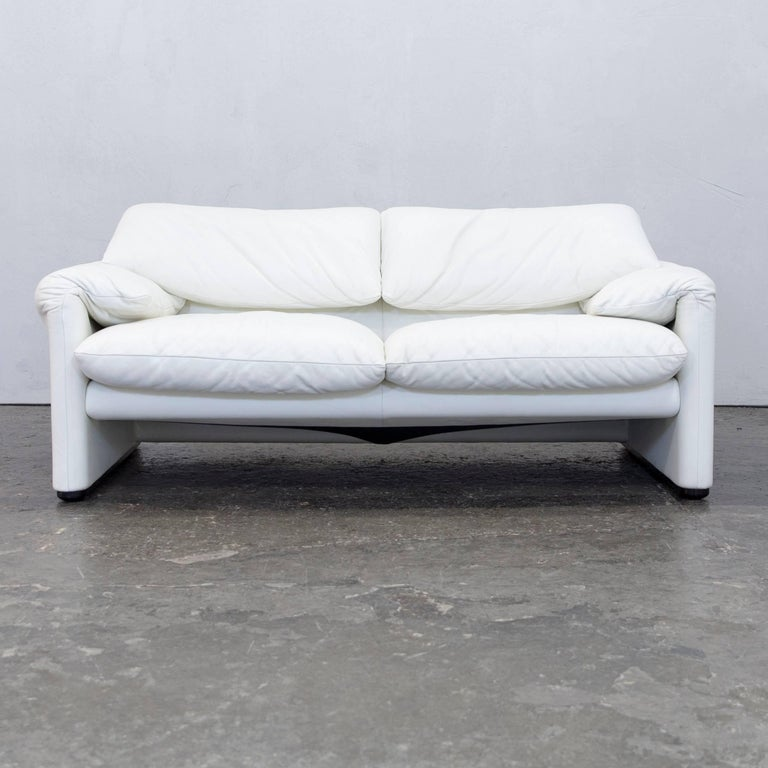 cassina maralunga designer sofa leather white two seat function couch modern at 1stdibs. Black Bedroom Furniture Sets. Home Design Ideas