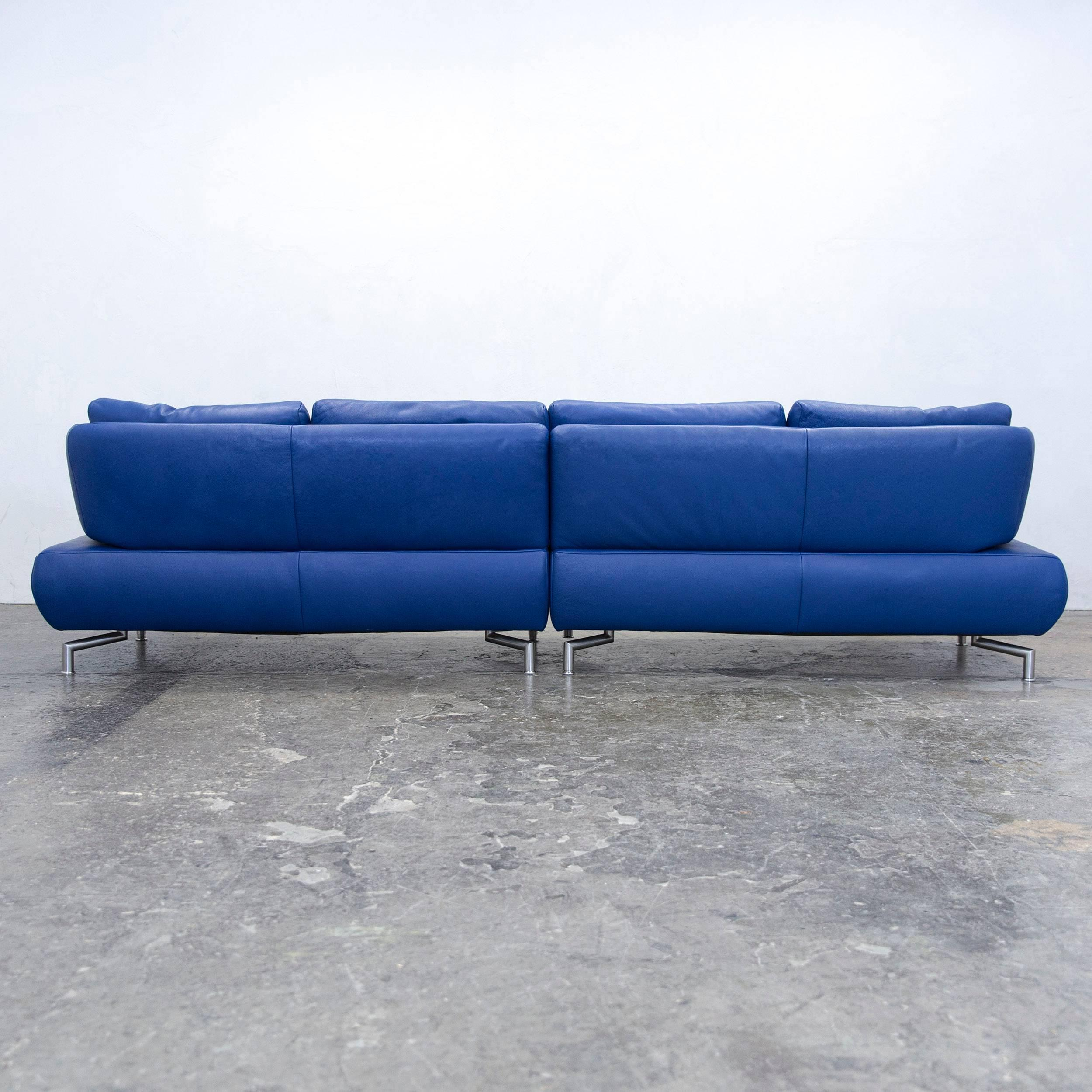 Koinor Designer Sofa Leather Blue Four Seat Couch Function Modern at