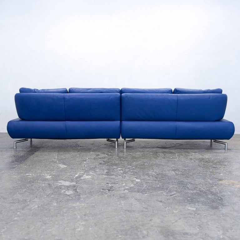koinor designer sofa leather blue four seat couch function modern for sale at 1stdibs. Black Bedroom Furniture Sets. Home Design Ideas