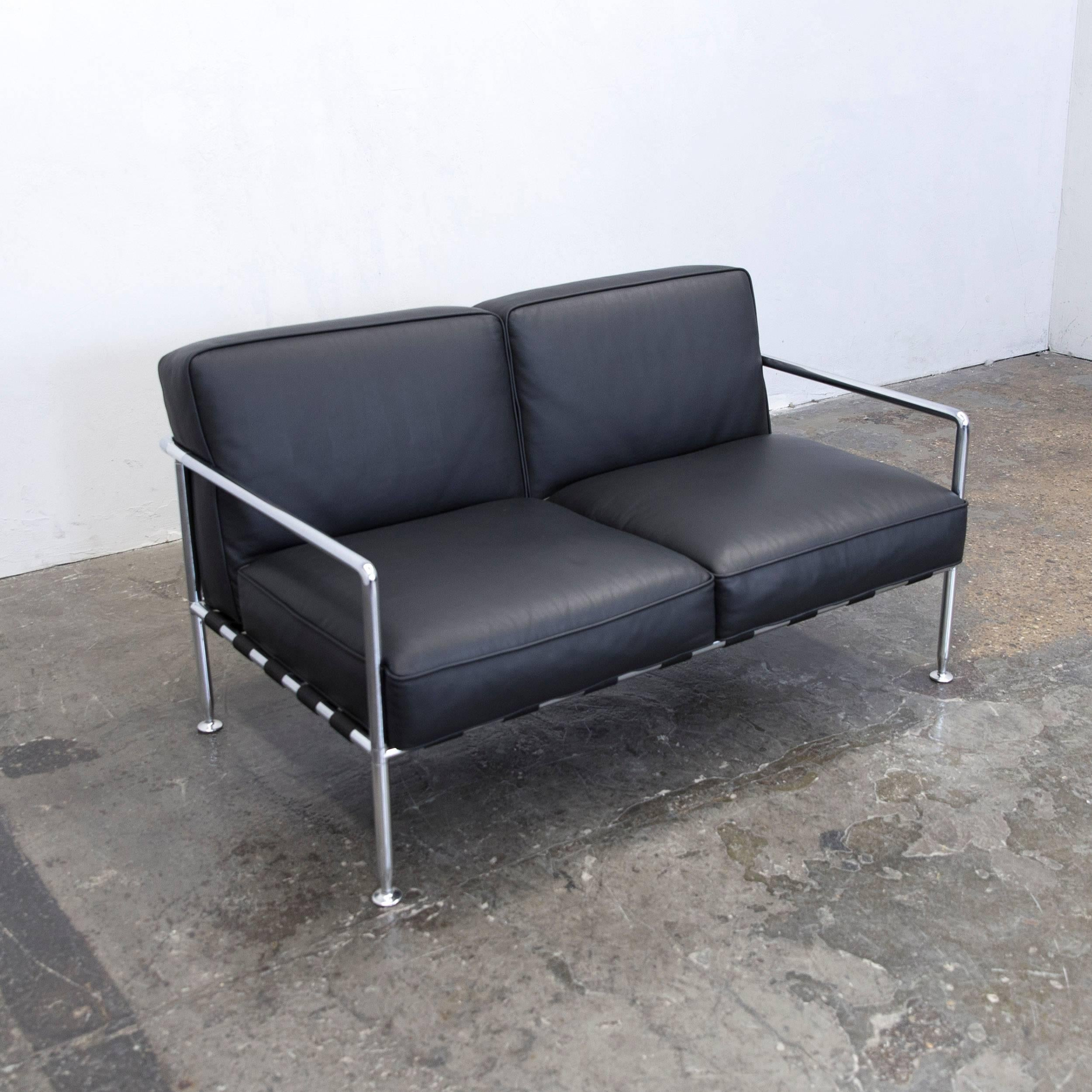 Bu0026B Italia Freetime Designer Sofa Leather Black Two Seat Chrome .